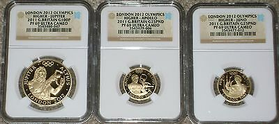 2012 Great Britain 2011 Olympics Higher 3-Coin Gold Set NGC PF 69 Ultra Cameo
