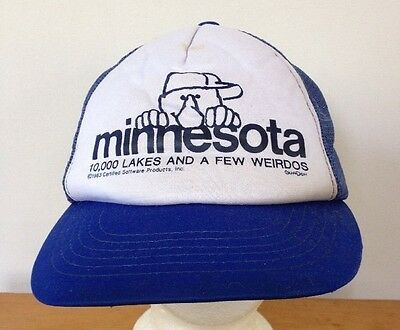 Vintage Kilroy Was Here Minnesota 10000 Lakes Weirdos Blue Mesh Trucker Hat