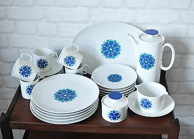 Mid Century Thomas Blue Retro Pattern Bone China Vintage Coffee or Tea Set