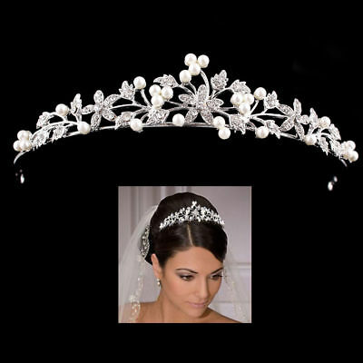 Wedding Prom Bridal Bridesmaid Tiara Rhinestone Crystal Crown Headband Silver