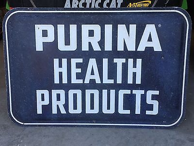 1947 Vintage Sign PURINA HEALTH PRODUCTS Sign Embossed Dog Car Horse Farm Cow