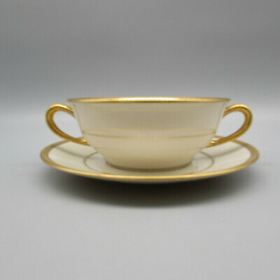 Coxon Belleek GOLD-ENCRUSTED Cream Soup Set (s)