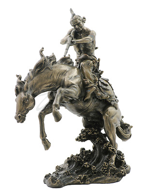 Indian W/ Rifle On Horse Jumping In Water Statue Figure Sculpture
