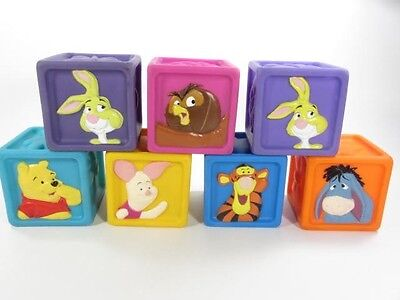 """Winnie the Pooh, 7 Rubber Squeaky Blocks 2 1/2"""" each For Babies & Toddlers! HTF"""