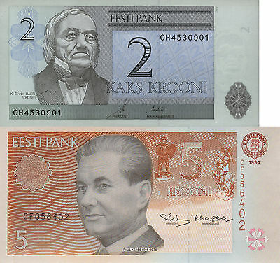 Estonia 2 Note Set: 2 and 5 Kroon (1992/1994) p85a and p76