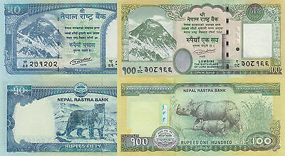 Nepal 2 Note Set: 50, & 100 Rupees (2015) - Both pNew UNC
