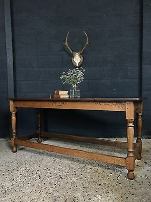 Superb Vintage Antique Oak Refectory Kitchen Dining Table