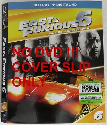 No Discs !! Fast Furious 6 Blu-Ray Cover Slip Only - No Discs !!     (Inv13324)