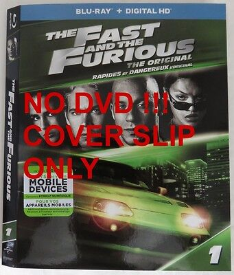 No Discs !! Fast Furious Blu-Ray Cover Slip Only - No Discs !!     (Inv13325)