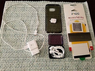 Samsung Galaxy S7 Edge Accessories Lot-Case+Charger+Screen Protector+Earphones