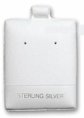 """100 White STERLING SILVER Earring Puff Pads Cards 1 3/4""""H x 1 1/2""""W"""