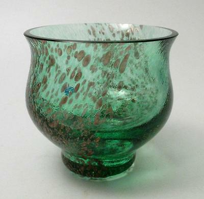 Quality Caithness Scotland Green & Copper Aventurine Inclusion Glass Vase Label