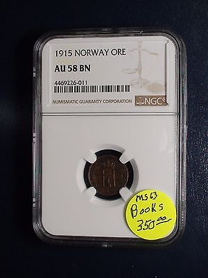 1915 Norway One Ore NGC AU58 BN 1O Coin PRICED TO SELL NOW!