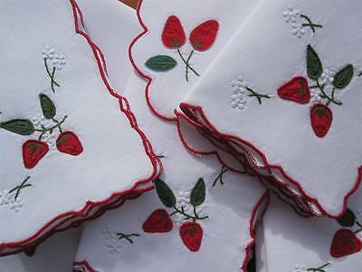 Ten Large Vintage Applique/Embroidered Table NAPKINS:Strawberrys NEVER USED
