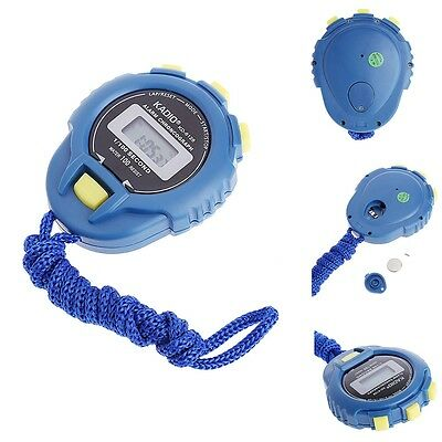 Handheld Digital LCD Sports Stopwatch Chronograph Counter Timer w/Strap