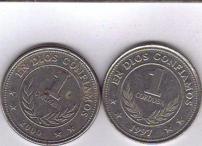 2 DIFFERENT 1 CORDOBA COINS from NICARAGUA (1997 & 2000).