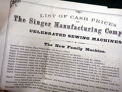 1866 antique SINGER SEWING MACHINE BROADSIDE advertisement prices accessories