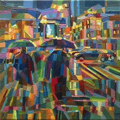 In the Rain Original Oil Painting on Canvas Dusan Art City Abstract Cubism