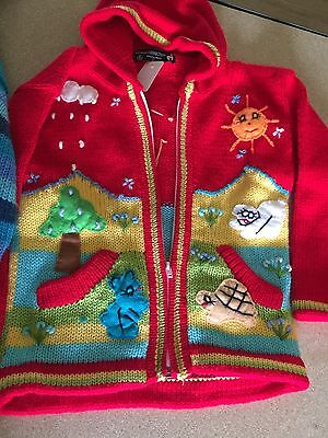 Hand knitted Alpaca Wool LOT 2 Children Sweaters with 3D designs