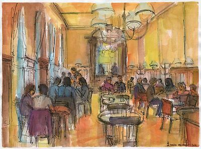 At the Cafe Original Ink Watercolour Painting by Dusan City Coffee House
