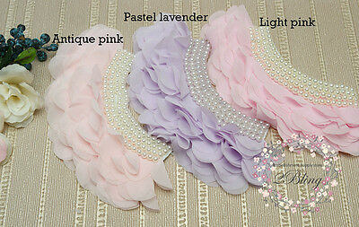 3 MIX ASSORTED Pearl Peonies chiffon Collar Applique v.2,DIY embellishment