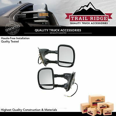 Trail Ridge Tow Mirror Power Textured Black Pair for Ford Super Duty Pickup New