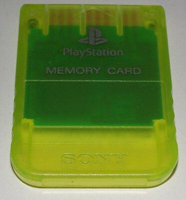 Clear Yellow Genuine Sony PS1 Memory Card PlayStation 1 1MB