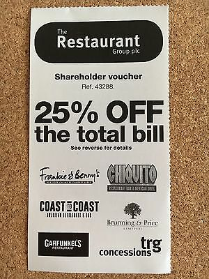 The Resturant Group Voucher - 25% Off Total Bill - Frankie & Benny's Chiquito