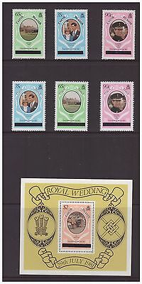 Caicos Islands 1981 Royal Wedding  Postage Stamps Overprinted set  MNH mint