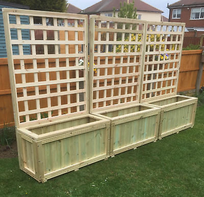 wooden planters with trellis,garden,decking planter local delivery or postage