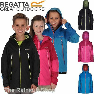 Regatta Kids Allcrest Waterproof Breathable Hooded Rain Coat Jacket Boy Girl