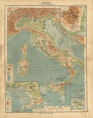 Carta geografica antica ITALIA ALTEZZE PROFONDITA' VULCANI 1897 Old antique map