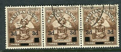 SAMOA;  1940 surcharged early pictorial issue used 3d. Strip of 3