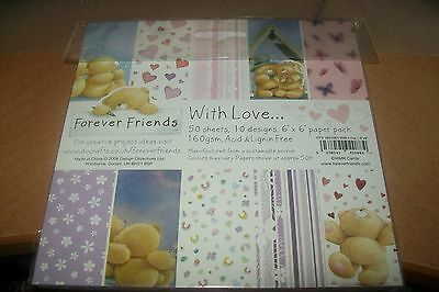 Forever Friends With Love Paper Pack 50 Sheets/10 Designs/6X6 Inch/160 Gsm/