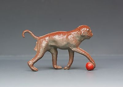 CHERILEA or CHARBENS LEAD ZOO SERIES ANIMAL MONKEY with BALL - BRICK RED VARIANT