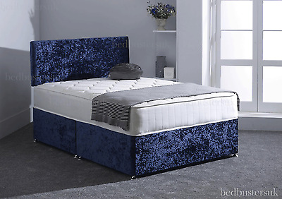 CRUSHED VELVET DIVAN BED + MEMORY MATTRESS + HEADBOARD 3FT 4FT 4FT6 Double 5FT