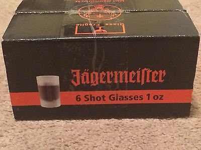 Set of 6 Frosted Jagermeister Shot Glasses New