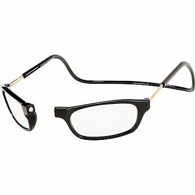 +1.25 BLACK Magnetic Reading Glasses Snap Click Front Neck Hanging Spectacles