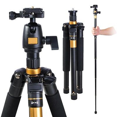 Adjustable Pro Tripod Monopod w/ Ball Head For DSLR Camera Travel Aluminum 60""