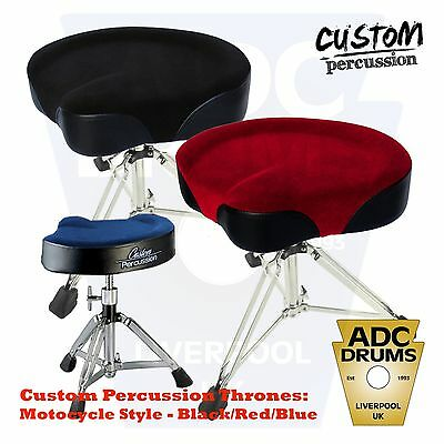 Custom Percussion Motorcycle Drum Kit Throne: Drummer's Stool (Black/Red/Blue)