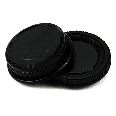 2pcs/set Plastic Rear Lens and Body Cap Cover for Pentax K PK Camera Black Set
