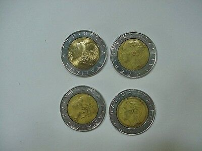 Lot #3; 4 Italy 500 Lire 1980s Coins. Palace Portrait, Replaced by Euro in 1999