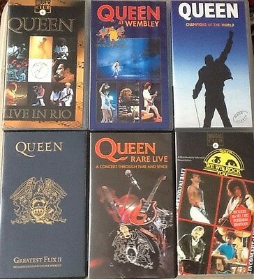 6 x Queen VHS Video Tapes