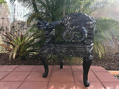 Carved Antique Wood Japanese Dragon Armchair Black NEW YORK