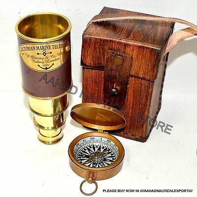 Vintage Nautical Brass Telescope Brass Pirate Spyglass Scope Collectible Gift