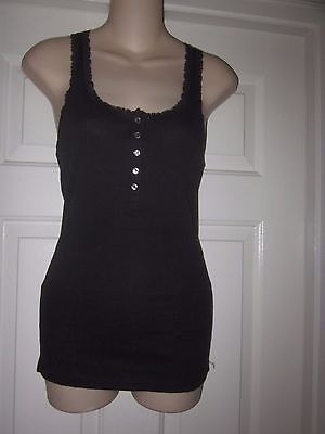 Victoria's Secret Lace Trimmed Black Ribbed Tank Top Long Length NWOT Size Small