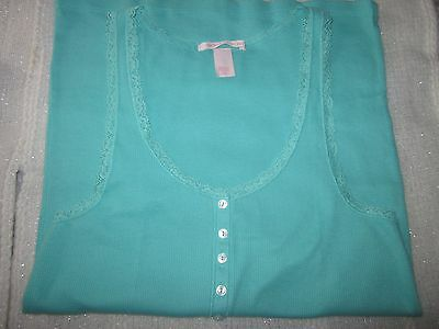 Victoria's Secret Lace Trimmed Green Ribbed Tank Top Long Length NWOT Size Large
