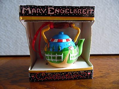 Vintage Mary Engelbreit Colorful Decorated Teapot Ornament Country Farm Scene