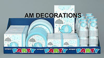 Blue Umbrellaphants Baby Shower Boy Party Decorations Tableware Christening
