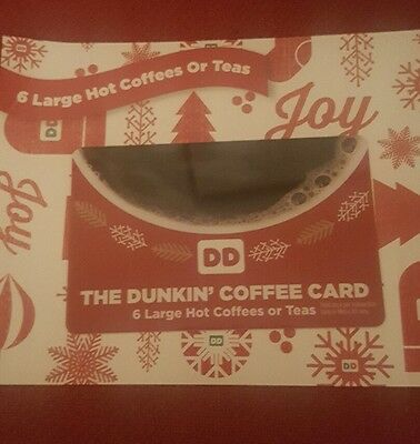 New Dunkin Donuts Coffee  Card  6 Large Hot Coffee or Hot Tea